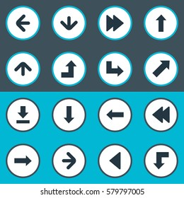 Set Of 16 Simple Cursor Icons. Can Be Found Such Elements As Left Landmark , Left Direction , Downwards Pointing.