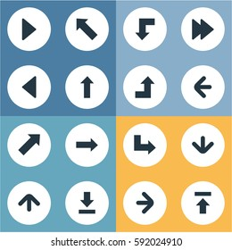 Set Of 16 Simple Cursor Icons. Can Be Found Such Elements As Upward Direction, Left Direction, Advanced And Other.