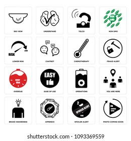 Set Of 16 simple editable icons such as photo coming soon, spoiler alert, appendix, brand awareness, you are here, operations, ease of use, overdue, fraud alert can be used for mobile, web UI, pixel perfect icons