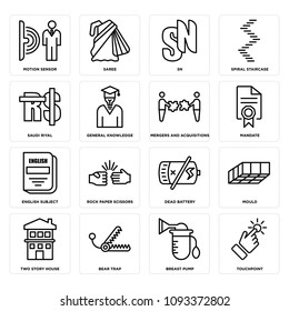 Set Of 16 simple editable icons such as touchpoint, breast pump, bear trap, two story house, mould, dead battery, rock paper scissors, english subject, mandate can be used for mobile, web UI, pixel perfect icons