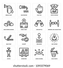 Set Of 16 simple editable icons such as solid waste, cross channel, exhibitors, achive, self esteem, resilience, kickoff, bear trap, mergers and acquisitions can be used for mobile, web UI, pixel perfect icons
