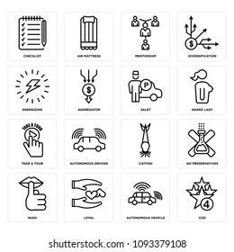 Set Of 16 simple editable icons such as cod, autonomous vehicle, loyal, hush, no preservatives, catfish, driving, take a tour, naked lady can be used for mobile, web UI, pixel perfect icons
