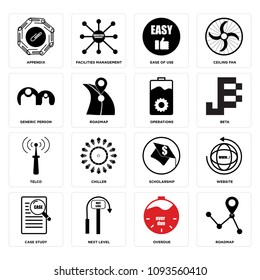 Set Of 16 simple editable icons such as roadmap, overdue, next level, case study, website, scholarship, chiller, telco, beta can be used for mobile, web UI, pixel perfect icons
