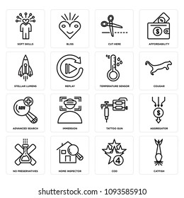 Set Of 16 simple editable icons such as catfish, cod, home inspector, no preservatives, aggregator, tattoo gun, immersion, advanced search, cougar can be used for mobile, web UI, pixel perfect icons