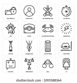 Set Of 16 simple editable icons such as ct, bail, mentorship, chat bot, size chart, air mattress, aggregator, catfish, energizing can be used for mobile, web UI, pixel perfect icons