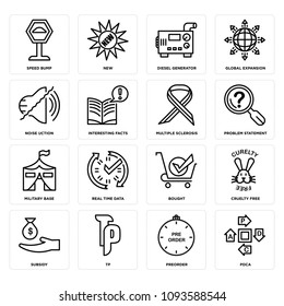 Set Of 16 simple editable icons such as pdca, preorder, tp, subsidy, cruelty free, bought, real time data, military base, problem statement can be used for mobile, web UI, pixel perfect icons
