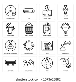 Set Of 16 simple editable icons such as kickoff, rmb, hill station, spoiler, no worries, rfid, feedback loop, photo not available, lumen can be used for mobile, web UI, pixel perfect icons