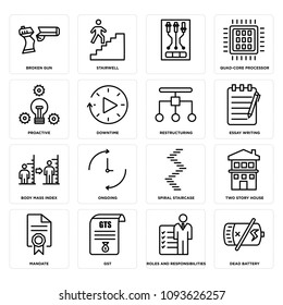 Set Of 16 simple editable icons such as dead battery, roles and responsibilities, gst, mandate, two story house, spiral staircase, ongoing, body mass index can be used for mobile, web UI, pixel perfect icons