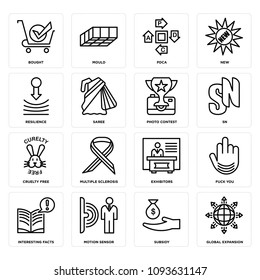 Set Of 16 simple editable icons such as global expansion, subsidy, motion sensor, interesting facts, fuck you, exhibitors, multiple sclerosis, cruelty free, sn can be used for mobile, web UI, pixel perfect icons