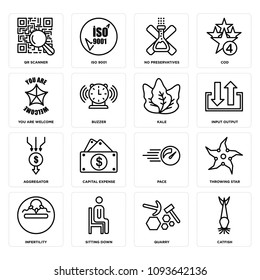Set Of 16 simple editable icons such as catfish, quarry, sitting down, infertility, throwing star, pace, capital expense, aggregator, input output can be used for mobile, web UI, pixel perfect icons