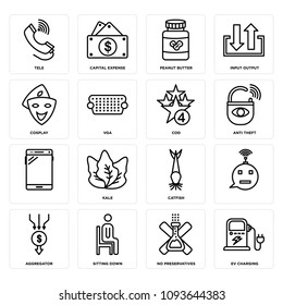 Set Of 16 simple editable icons such as ev charging, no preservatives, sitting down, aggregator, , catfish, kale, anti theft can be used for mobile, web UI, pixel perfect icons
