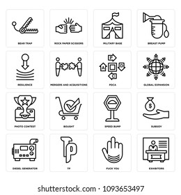 Set Of 16 simple editable icons such as exhibitors, fuck you, tp, diesel generator, subsidy, speed bump, bought, photo contest, global expansion can be used for mobile, web UI, pixel perfect icons