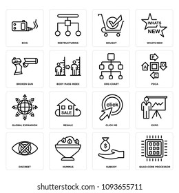 Set Of 16 simple editable icons such as quad-core processor, subsidy, hummus, discreet, expo, click me, resale, global expansion, pdca can be used for mobile, web UI, pixel perfect icons