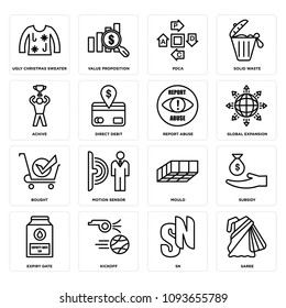 Set Of 16 simple editable icons such as saree, sn, kickoff, expiry date, subsidy, mould, motion sensor, bought, global expansion can be used for mobile, web UI, pixel perfect icons
