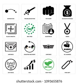 Set Of 16 simple editable icons such as fire dept, non toxic, gdp, air force, no address, Airforce, disaster recovery, perks can be used for mobile, web UI, pixel perfect icons
