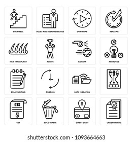 Set Of 16 simple editable icons such as underwriting, direct debit, solid waste, gst, , data migration, ongoing, essay writing, proactive can be used for mobile, web UI
