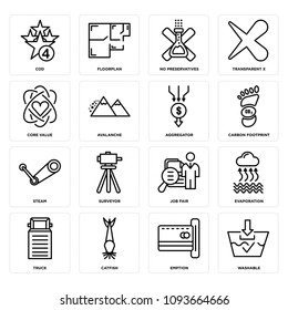 Set Of 16 simple editable icons such as washable, emption, catfish, truck, evaporation, job fair, surveyor, steam, carbon footprint can be used for mobile, web UI