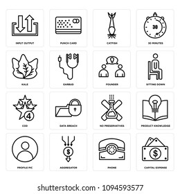Set Of 16 simple editable icons such as capital expense, phone, aggregator, profile pic, product knowledge, no preservatives, data breach, cod, sitting down can be used for mobile, web UI