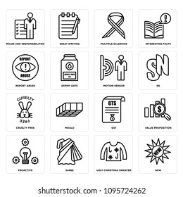 Set Of 16 simple editable icons such as new, ugly christmas sweater, saree, proactive, value proposition, gst, mould, cruelty free, sn can be used for mobile, web UI, pixel perfect icons