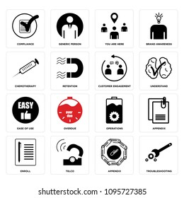 Set Of 16 simple editable icons such as troubleshooting, appendix, telco, enroll, operations, overdue, ease of use, understand can be used for mobile, web UI, pixel perfect icons