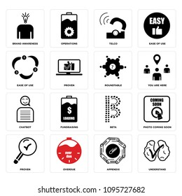 Set Of 16 simple editable icons such as understand, appendix, overdue, proven, photo coming soon, beta, fundraising, chatbot, you are here can be used for mobile, web UI, pixel perfect icons