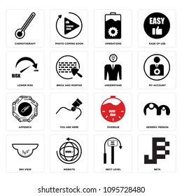 Set Of 16 simple editable icons such as beta, next level, website, 360 view, generic person, overdue, you are here, appendix, my account can be used for mobile, web UI, pixel perfect icons