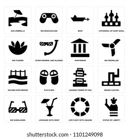 ac78b92a40b Set Of 16 simple editable icons such as Statue of liberty