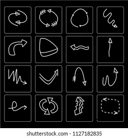 Set Of 16 simple editable icons such as Looping arrows with broken line, Play button, Loop arrows, Rotated right arrow, Curved Arrow scribble, web UI icon pack, pixel perfect