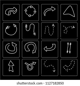 Set Of 16 simple editable icons such as Turn right with broken line, Curved arrow, Loop Up and down arrows, Navigation web UI icon pack, pixel perfect