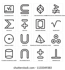 Set Of 16 simple editable icons such as Perpendicular, Plus less, The intersection of, Cylinder volumetrical shape, sum web UI icon pack, pixel perfect