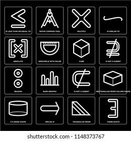 Set Of 16 simple editable icons such as There exists, Semicircle with ruler, Implies if, Cylinder shape, Rectangular prism volume Is similar to, web UI icon pack, pixel perfect