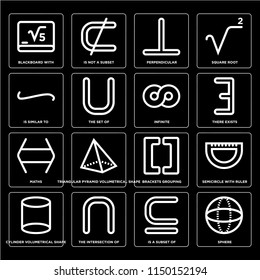 Set Of 16 simple editable icons such as Sphere, The set of, intersection Cylinder volumetrical shape, Semicircle with ruler, Square root, web UI icon pack, pixel perfect