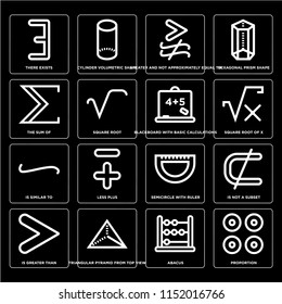 Set Of 16 simple editable icons such as Proportion, Square root, Triangular pyramid from top view, Is greater than, not a subset, Hexagonal prism shape, web UI icon pack, pixel perfect