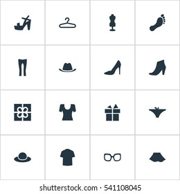 Set Of 16 Simple Garments Icons. Can Be Found Such Elements As Present, Barefoot, Footwear And Other.