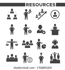 Set Of 16 Simple Human Resources Icons