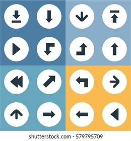 Set Of 16 Simple Indicator Icons. Can Be Found Such Elements As Left Landmark , Left Direction , Right Direction.