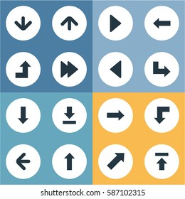 Set Of 16 Simple Indicator Icons. Can Be Found Such Elements As Increasing, Transfer, Upward Direction And Other.
