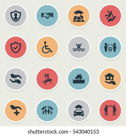 Set Of 16 Simple Insurance Icons. Can Be Found Such Elements As Contract, Medical Attendance, Reliability And Other.