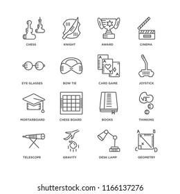 Set Of 16 simple line icons such as Geometry, Desk lamp, Gravity, Telescope, Thinking, Chess, Eye glasses, Mortarboard, Card game, editable stroke icon pack, pixel perfect