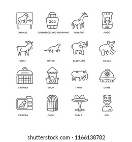 Set Of 16 simple line icons such as Kid, Table, Cage, Camera, Dome, Animal, Goat, Carrier, Elephant, editable stroke icon pack, pixel perfect