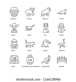Set Of 16 simple line icons such as Bridge, Kangaroo, Commerce and shopping, Cage, Ostrich, Gorilla, Guide, Shop, Kid, editable stroke icon pack, pixel perfect