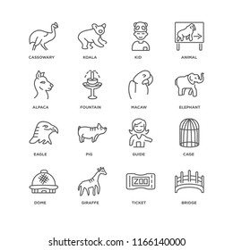 Set Of 16 simple line icons such as Bridge, Ticket, Giraffe, Dome, Cage, Cassowary, Alpaca, Eagle, Macaw, editable stroke icon pack, pixel perfect
