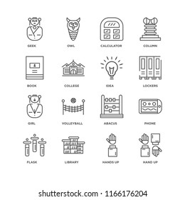 Set Of 16 simple line icons such as Hand up, Hands Library, Flask, Phone, Geek, Book, Girl, Idea, editable stroke icon pack, pixel perfect