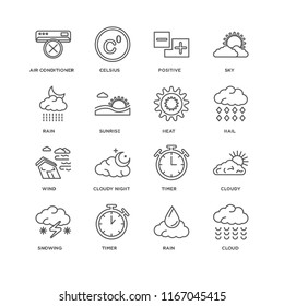 Set Of 16 simple line icons such as Cloud, Rain, Timer, Snowing, Cloudy, Air conditioner, Wind, Heat, editable stroke icon pack, pixel perfect