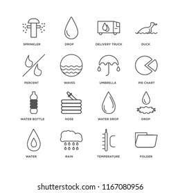 Set Of 16 simple line icons such as Folder, Temperature, Rain, Water, Drop, Sprinkler, Percent, Water Bottle, Umbrella, editable stroke icon pack, pixel perfect