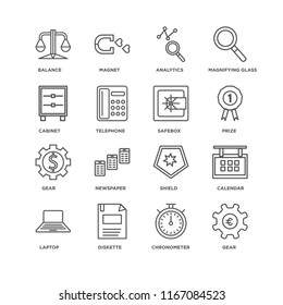 Set Of 16 simple line icons such as Gear, Chronometer, Diskette, Laptop, Calendar, Balance, Cabinet, Safebox, editable stroke icon pack, pixel perfect