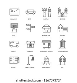 Set Of 16 simple line icons such as Hut, Beach Traffic light, Motel, Phone booth, Mailbox, Atm, Truck, Bungalow, editable stroke icon pack, pixel perfect
