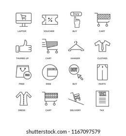 Set Of 16 simple line icons such as Tax, Delivery, Cart, Dress, Pants, Laptop, Thumbs up, Free, Hanger, editable stroke icon pack, pixel perfect