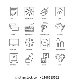 Set Of 16 simple line icons such as Rgb, Image, Ink, Printer, Paint brush, Text, Layer, Monitor, roller, editable stroke icon pack, pixel perfect