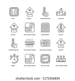 Set Of 16 simple line icons such as Air conditioner, Off button, Timer, House, Low, Thermometer, Condenser, editable stroke icon pack, pixel perfect
